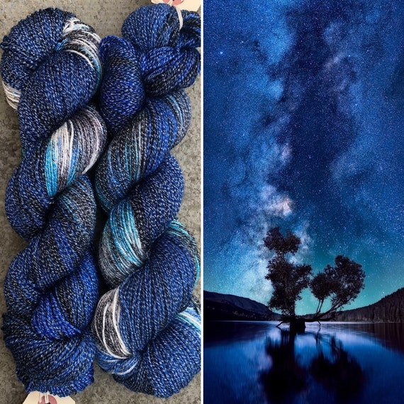 High Lurex Night Sky Sparkle Sock, merino fingering yarn
