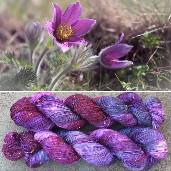 Purple Anemone Multicolour Donegal Sock, merino yarn with rainbow neps