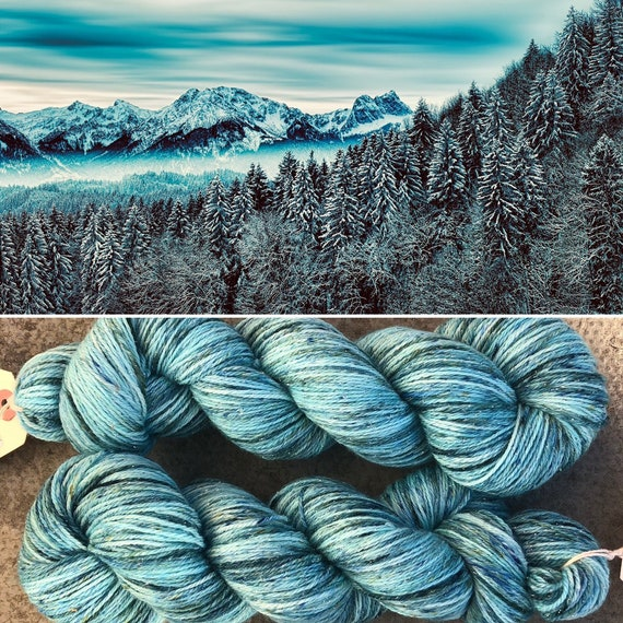 Frozen Forest Sparkle Sock, 4ply merino nylon yarn