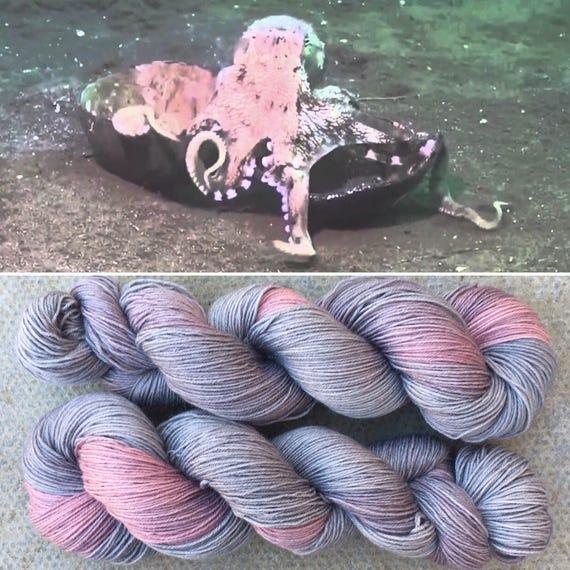 Coconut Octopus, grey gray pink 75/25 merino nylon sock yarn