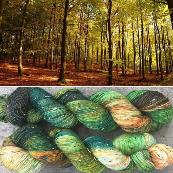 Autumn is Coming Donegal Sock, indie dyed merino yarn in speckled fall greens