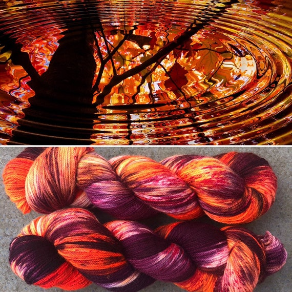 Autumn Ripples MCN, indie dyed merino cashmere nylon sock yarn