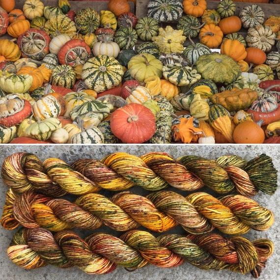 All the Gourds! Miniskein, Autumn Fall inpired merino nylon sock yarn