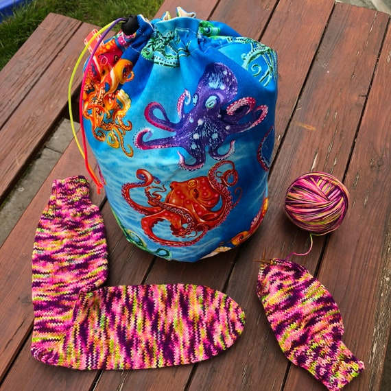 Octopus Party, medium drawstring project bag Mothy and the Squid / AmeliaXJoy collab