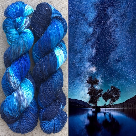 SALE Night Sky Sparkle Sock, merino nylon yarn with silver stellina