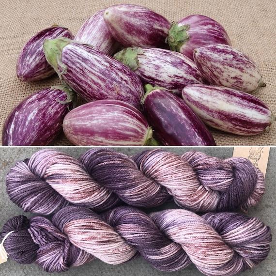 Speckled Aubergine DK, purple speckled merino nylon yarn
