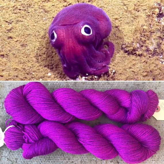 Stubby Squid, 75/25 BFL nylon pink purple UV reactive indie dyed sock yarn