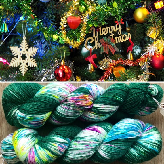 Christmas Tree, 85/15 merino nylon blend sock yarn 4ply fingering