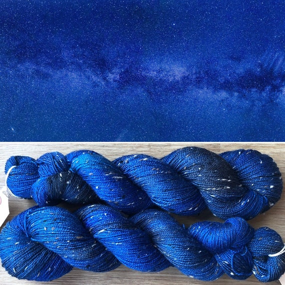 Midnight Sky Donegal Sock, merino yarn with neps