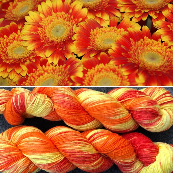 Gerbera Daisy, bright soft merino nylon indie dyed sock yarn