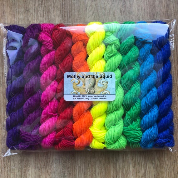 Rainbow DK Miniskein Gift Set, 10 x 20g superwash merino yarn
