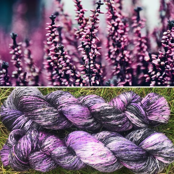 Highland Heather Donegal Sock, speckled pink purple merino yarn