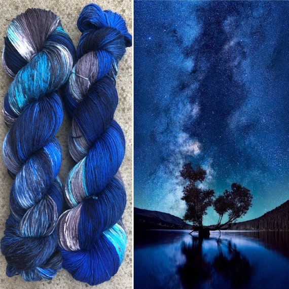 Night Sky, indie dyed merino nylon sock yarn