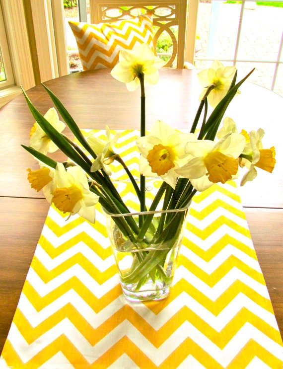 YELLOW TABLE RUNNER Yellow Chevron Table Runners Wedding