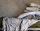 NEW Vintage Black ticking stonewashed linen Flat sheet. Luxurious natural linen. King and Queen sizes available