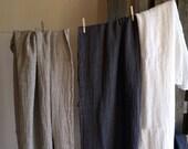 Charcoal natural linen bath towel/ Bath sheet/ Organic Spa towel. Waffle textured stonewashed linen.
