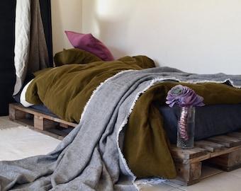 Olive Green stonewashed linen duvet/quilt/doona cover. Pure linen bedding