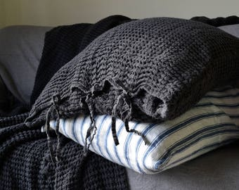 Waffle Peppercorn Dark Gray Linen Pillow case, heavy weight natural linen. Euro size