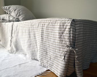 New Rustic Pinstriped Heavy Weight Rustic Linen Bedskirt ⎮Valance ⎮Dust Ruffle, Box Pleated design. Stonewashed linen bedding