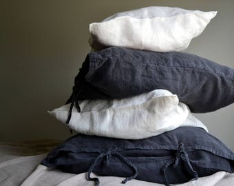 Peppercorn Dark Grey Rustic Rough Heavy Weight Linen Pillow case with ties. Standard, Euro and King sizes