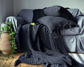 Super Heavy Peppercorn Dark Grey Waffle Textured Stonewashed Linen Throw/ Bed cover/ Linen Blanket. Pre-order ONLY