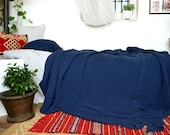 SOLD OUT. Indigo Blue Waffle Textured Natural Linen Blanket/ Oversized Linen Quilt / Bed cover/  Linen Throw Blanket.