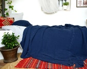 NEW Indigo Blue Waffle Textured Natural Linen Blanket/ Oversized Linen Quilt / Bed cover/  Linen Throw Blanket.