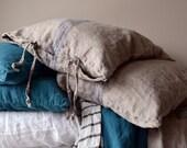 Blue Stripe Vintage Grainsack Heavy Weight Linen Pillow case. Standard, Euro and King sizes