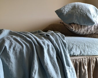 Duck Egg Blue Heavy Weight Rustic Linen Sheet. Throw Blanket. Bed Cover. Bedspread. Coverlet. Comforter. Summer blanket.