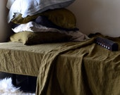 Olive Green linen flat sheet. Luxurious stonewashed linen bedding. King and Queen sizes.