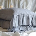 Pair of light grey pure linen pillow cases with ruffle / Natural stonewashed linen, Standard size