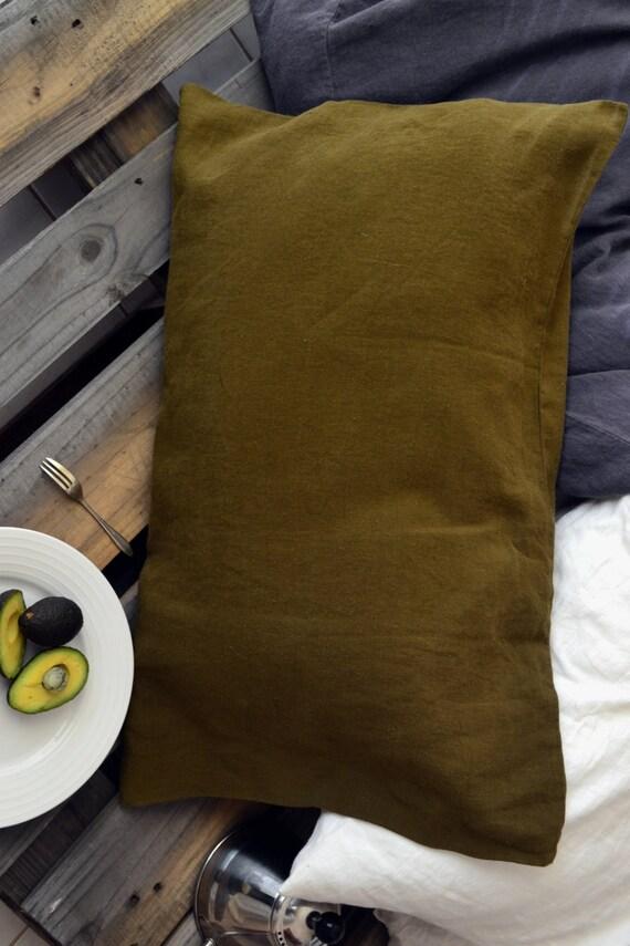 Vert Olive Stonewashed Taie D Oreiller Lin Standard Roi Et Euro