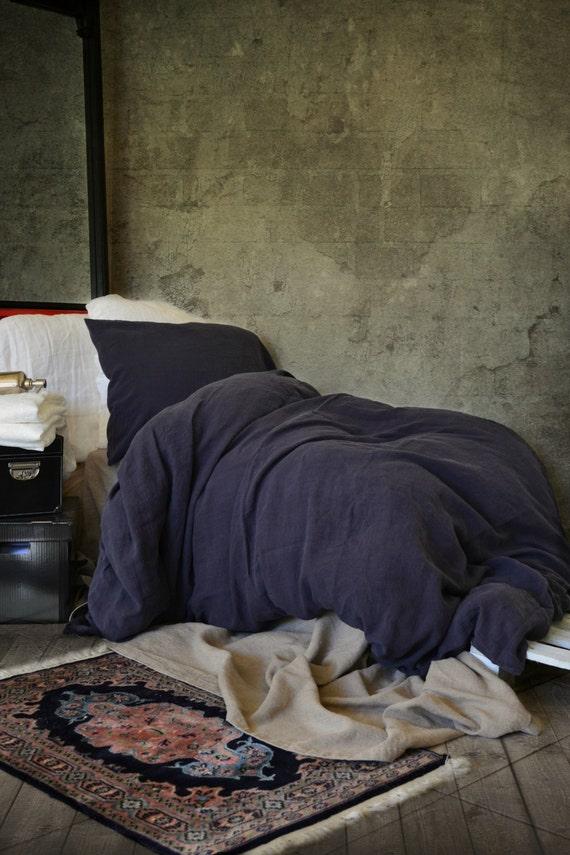 bleu nuit stonewashed housse de couette linge de maison de la etsy. Black Bedroom Furniture Sets. Home Design Ideas