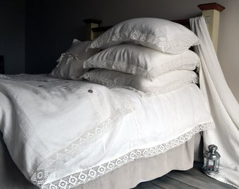 "Antique white pure linen duvet/quilt/doona cover ""Provincial Living"". Queen and King sizes available. Stonewashed linen bedding"