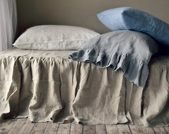 Natural Linen Bedskirt. Dust ruffle. Bed Valance. King size. Natural flax colour
