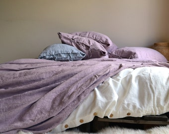 Faded Lilac Rustic Rough Heavy Weight Stonewashed Linen Bed Cover/ Bedspread/ Coverlet/ Throw Blanket/ Heavy linen sheet/ Summer Blanket
