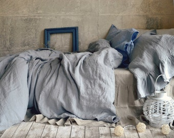 Light grey stonewashed luxurious linen duvet cover/quilt cover/ doona cover by House of Baltic Linen