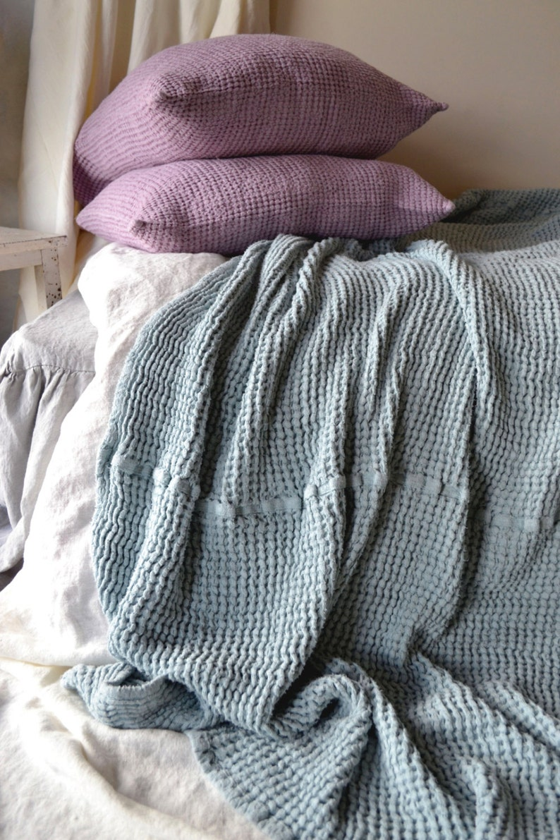 Large size Super Heavy Duck Egg Blue Waffle Textured Stonewashed Linen Throw Bed cover Linen Blanket