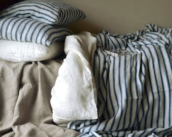 French vintage Navy Ticking heavy linen Flat Sheet/ Comforter. Heavy weight linen bedding