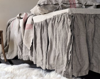 Natural Heavy Weight Rustic Ruffled Linen Bedskirt / Valance / Dust Ruffle. Natural Flax (Undyed) colour. Stonewashed linen bedding