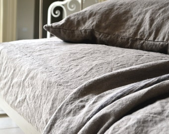 Linen FITTED sheet. Rustic Rough heavy weight natural linen, Natural flax colour. Stonewashed