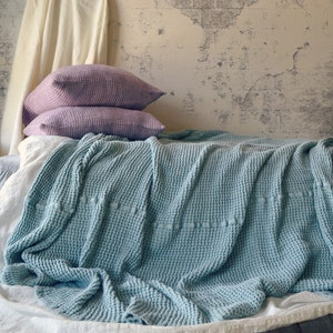 Pre-order ONLY Super Heavy Peppercorn Dark Grey Waffle Textured Stonewashed Linen Throw Bed cover Linen Blanket