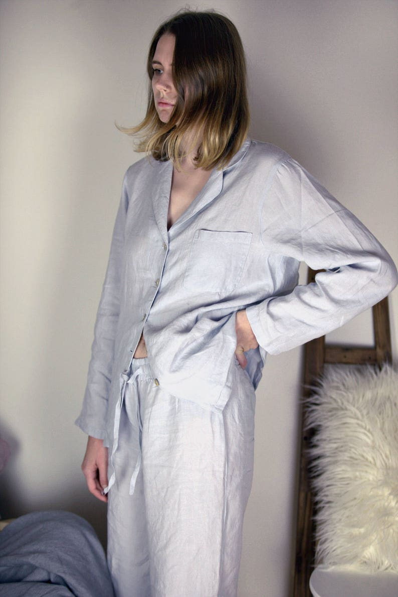 Silver light grey stonewashed linen pajama set. Women linen