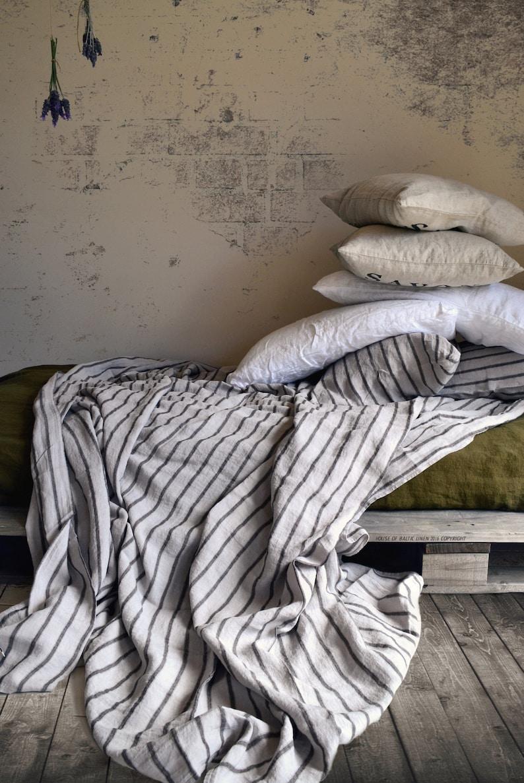 17b1d6af6ed NEW Vintage Black ticking stonewashed linen Flat sheet.