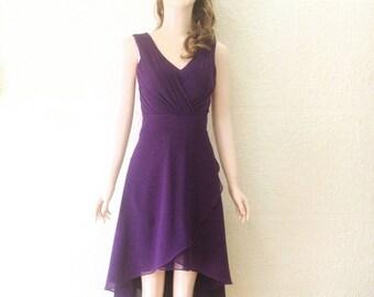 Dark Purple Knee Length Dress