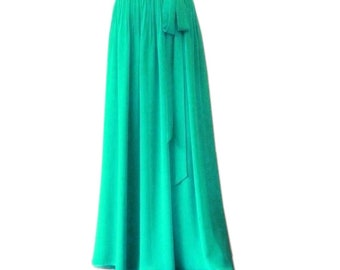 76875d69b51 Turquoise Maxi Skirt. Turquoise Bridesmaid Skirt. Long Evening Skirt.  Chiffon Floor Length Skirt.