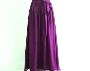 Long Bridesmaid Skirt. Purple Evening Skirt. Purple Maxi Skirt. Chiffon Floor Length Skirt.