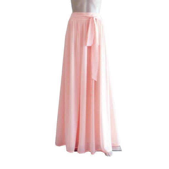 Light Pink Maxi Skirt Light Pink Bridesmaid Skirt Long Etsy