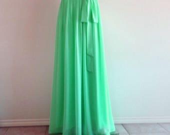 Long Bridesmaid Skirt. Dark Mint Maxi Skirt. Chiffon Floor Length Skirt.