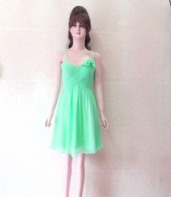 Mint Green Bridesmaid Dress. Mint Green Evening Dress. Chiffon Knee. Length Dress.